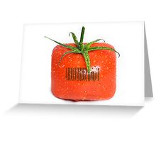 Square Tomato with a barcode. Greeting Card