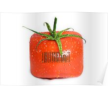 Square Tomato with a barcode. Poster
