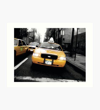 Yellow Cabs, New York Art Print