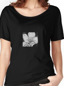 Black and White Lily Women's Relaxed Fit T-Shirt