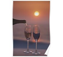 Pouring champagne Poster