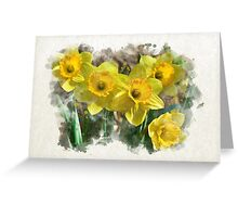 Spring Daffodils Watercolor Art Greeting Card
