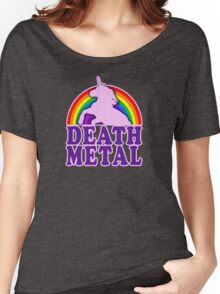 Funny Death Metal Unicorn Rainbow (vintage distressed look) Women's Relaxed Fit T-Shirt