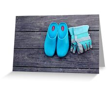 Turquoise Garden Clogs And Gloves | Center Moriches, New York Greeting Card