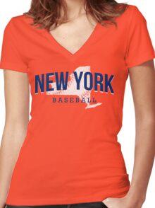New York Baseball 2 Women's Fitted V-Neck T-Shirt