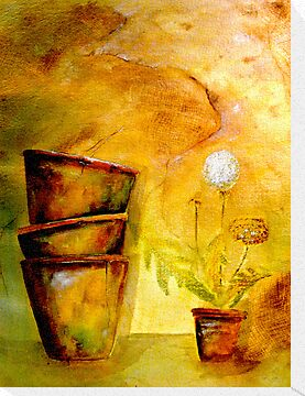 Still Life with Old Dandelion Stencil and Terracotta Pots by © Janis Zroback