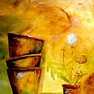 Still Life with Old Dandelion Stencil and Terracotta Pots by  Janis Zroback