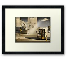 Lonely men walk lonely cities Framed Print