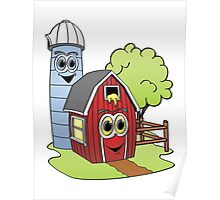 Barn Silo Cartoon Poster