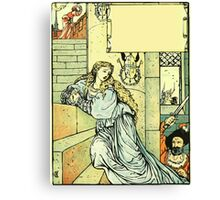 The Sleeping Beauty Picture Book Plate - Bluebeard - Come Down, Time Is Up Canvas Print