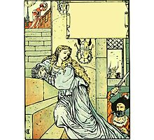 The Sleeping Beauty Picture Book Plate - Bluebeard - Come Down, Time Is Up Photographic Print