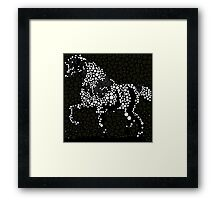 Horse Abstract Circles and Stars Black and White Framed Print
