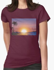 Guitarist on tropical beach at sunset Womens Fitted T-Shirt