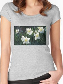 7 ABSTRACT DAFFODILS Women's Fitted Scoop T-Shirt