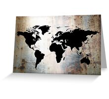 World Map Rusted Metal  Greeting Card