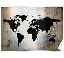 World Map Rusted Metal  Poster