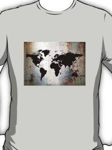 World Map Rusted Metal  T-Shirt