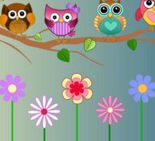 Cute Little Owls on a Branch Sticker