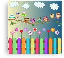 Cute Little Owls on a Branch Canvas Print