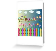 Cute Little Owls on a Branch Greeting Card