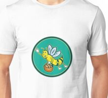 Bee Carrying Basket With Bread Cartoon Unisex T-Shirt