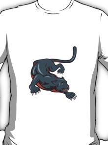 Black Panther Crouching Cartoon T-Shirt