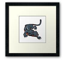Black Panther Crouching Cartoon Framed Print