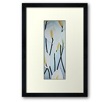 Seven Peace Lilies on blue Wall Framed Print