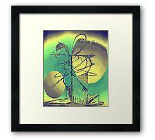 Bird Tree Peach Green Framed Print