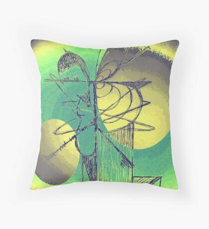 Bird Tree Peach Green Throw Pillow