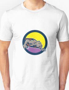 Black Panther Crouching Circle Cartoon T-Shirt