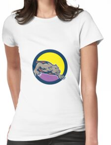 Black Panther Crouching Circle Cartoon Womens Fitted T-Shirt
