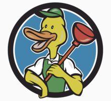 Duck Plumber Holding Plunger Circle Cartoon by patrimonio