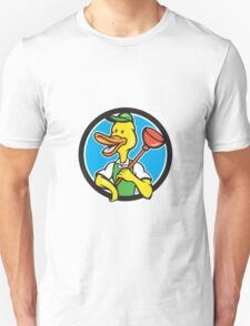 Duck Plumber Holding Plunger Circle Cartoon Unisex T-Shirt