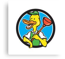 Duck Plumber Holding Plunger Circle Cartoon Canvas Print