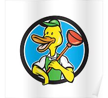 Duck Plumber Holding Plunger Circle Cartoon Poster