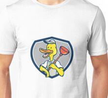 Duck Plumber Holding Plunger Shield Cartoon Unisex T-Shirt