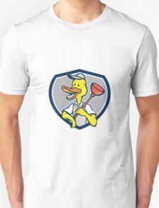 Duck Plumber Holding Plunger Shield Cartoon T-Shirt