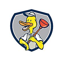 Duck Plumber Holding Plunger Shield Cartoon Photographic Print