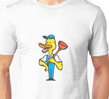 Duck Plumber Plunger Standing Cartoon Unisex T-Shirt