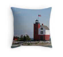Round Island Light Throw Pillow