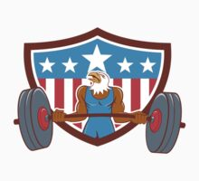 Bald Eagle Weightlifter Barbell USA Flag by patrimonio