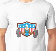 Bald Eagle Weightlifter Barbell USA Flag Unisex T-Shirt