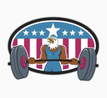 Bald Eagle Weightlifter Barbell USA Flag Oval  by patrimonio