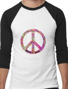 Psychedelic Peace Sign Men's Baseball ¾ T-Shirt
