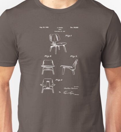 Mid Century Eames LCW Molded Plywood Chair Patent Drawing Unisex T-Shirt