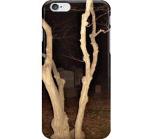 Twisted Tree in the Cemetery at Night iPhone Case/Skin