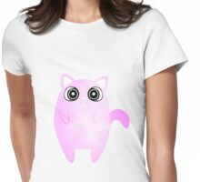 Tubby Pastel Pink Cat Womens Fitted T-Shirt