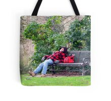 A Bench is a Bed Tote Bag