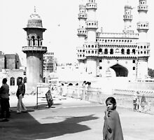 Girl In Front Of The Charminar, Hyderabad, India by Robert La Bua